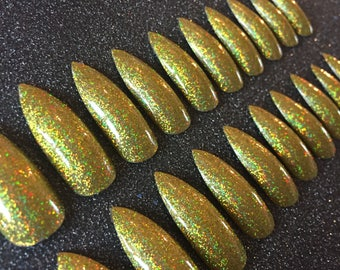 Gold Holographic Glitter Extra Long False Nails.