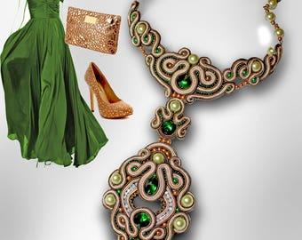necklace , soutache necklace , soutache pendant ,  soutache jewelry,embroidery , green necklace , beige necklace,gold necklace,FREE SHIPPING