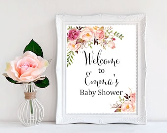 Boho Foral Printable Baby Shower Welcome Sign, Personalized Welcome Sign, Pink Floral Welcome Sign, Watercolor Gender Neutral Download 308-W