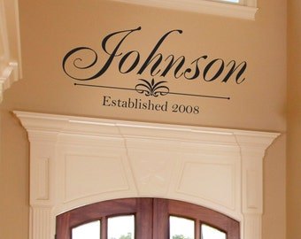 """Personalized Family Name Vinyl Wall Decal - Family Vinyl Lettering - Family Vinyl Wall Art Decal 22""""H x 48"""" W"""