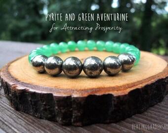 Pyrite and Green Aventurine Bracelet // Reiki Bracelet // Prosperity and Luck // Money Bracelet // Pyrite Bracelet //  Healing Garden Shop