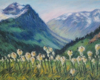 GLACIER National Park BEARGRASS WILDFLOWER Landscape from in Original 8.5 x 11.5 Pastel Painting by Sharon Weiss