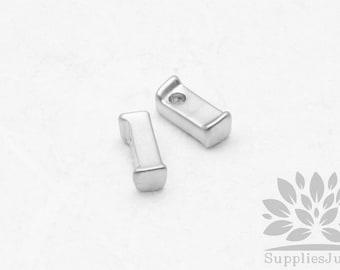 """IP003-MR-L// Matt Original Rhodium Plated Simple Lower Case Initial """"l"""" Pendant, 2 pcs"""