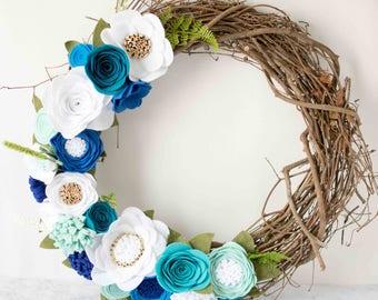 Blue, Teal, White, Gold Felt Flower Wreath || Grapevine Wreath || Front Door Wreath || Mantel Wreath || Nursery Decor || Floral Decor
