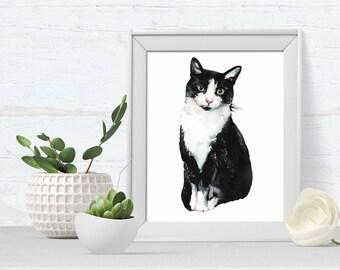 Cat Portrait - Cat Art Print - pet portrait - black and white cat - cat art print - A4 or A5 - ideal gift for cat lovers