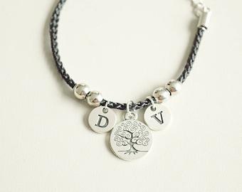 Family Tree Bracelet, Tree of Life Bangle, Tree of Life Bracelet, Personalized Charm Bracelet, Personalized Family Gift, Initial birthstone