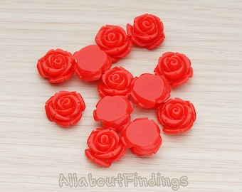 CBC141-01-RE // Red Colored Curved Petal Rose Flower Flat Back Cabochon, 6 Pc