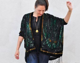Velvet Kimono Black, Green and Gold Filigree Gypsy Fortune Teller Paisley Velvet Burnout Fringe Kimono Cover Up