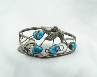 Vintage Sterling Silver And Kingman Mine Turquoise Small Cuff Bracelet Southwest Native American Design #KINGMAN-CF4