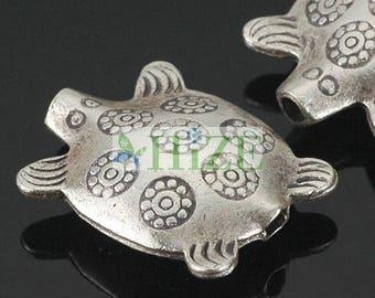 HIZE SB527 Thai Karen Hill Tribe Silver Ethnic Sea Beach Turtle Focal Beads 15mm (4)
