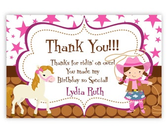 Cowgirl Thank You Card - Pink Stars, Brown Polka Dot Girl Cowgirl n Horse Personalized Birthday Party Thank You - a Digital Printable File