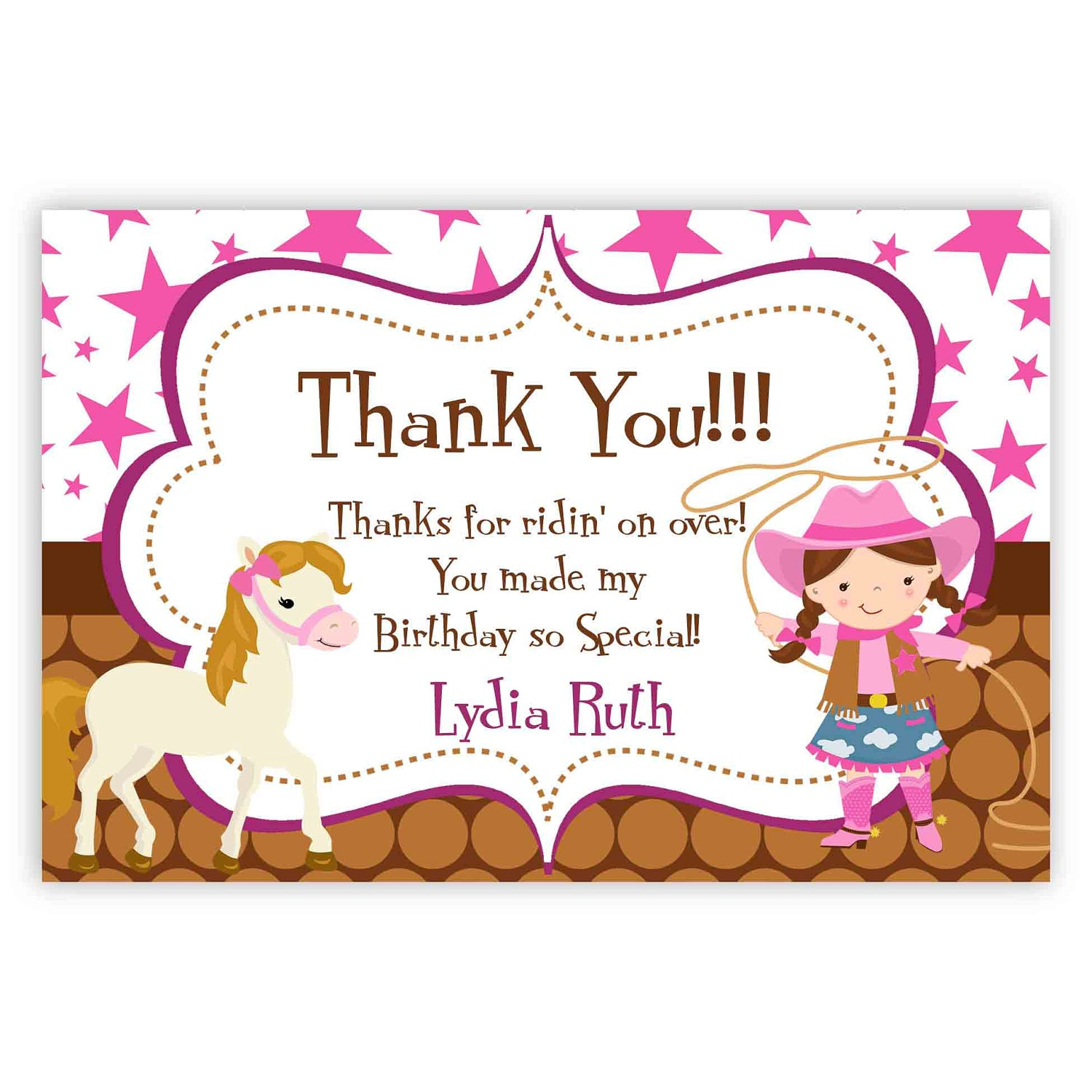 Cowgirl thank you card pink stars brown polka dot girl zoom bookmarktalkfo Image collections