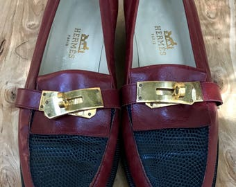 Hermes EU Sz 37 US Sz 7 leather loafers flats oxfords Red black leather gold hardware metal buckle leather sole black patent