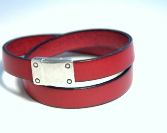 Leather Bracelet, Double wrap, Red leather, Decorative Silver clasp, Modern, Casual, Jewelry, Graduation gift