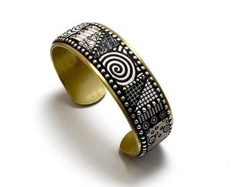 Mosaic Brass Cuff Bracelet with black and white polymer clay inlay, Sterling Silver beads graphic patterns