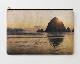 Cannon Beach Zippered Pouch | Makeup Bag | Beach Sunset | Travel Case Set | Oregon Coast | Haystack Rock iPad Case | Bridesmaid Gift