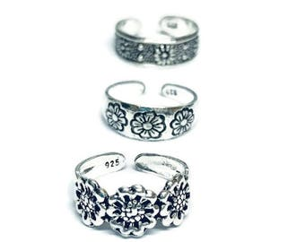 3 x  Flower Sterling Silver Toe Rings