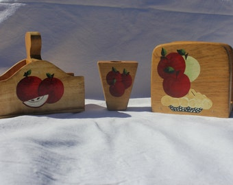 Apple kitchen table set, napkin holder, toothpick holder. salt and pepper holder, acrylic painting, red and green apples, apple pie,gift set