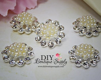 Small Crystal Pearl Buttons  Flatback flower centers Baby Headbands Scrapbooking Embellishments  5 pcs 20mm 907065