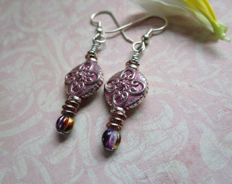 Pretty New Pink Celtic and Czech Beaded Earrings; Sterling Silver Earrings & Unique Bohemian Czech Made Beads; New Pink Patina Earrings