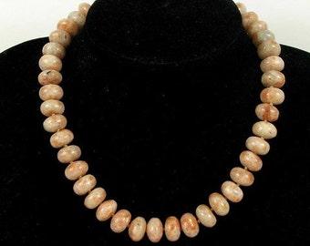 Necklace Sunstone 14mm Rondells 925 NSSS2530
