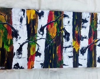 "BIRCH TREE PAINTING- White Birch Trees, Original Acrylic Abstract Painting, 12"" x 24"" Wrapped Canvas, Fall Background, Nature Art"