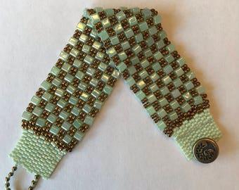 Green and Bronze 2 Drop Peyote Bracelet, Cuff Bracelet