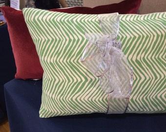 Decorative Christmas Pillow in designer Quadrille Fabric
