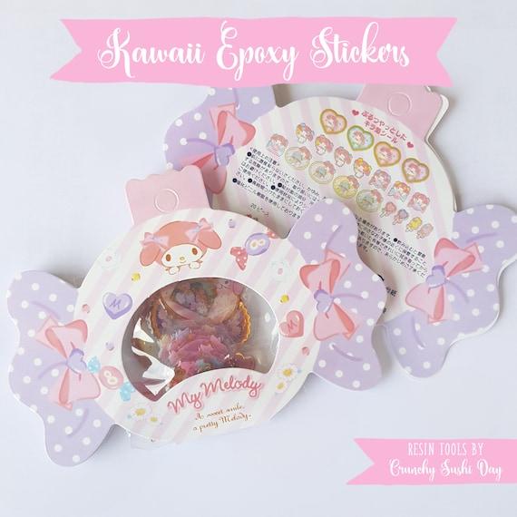 20 PCS Epoxy Sticker Set, Kawaii Stickers, My Melody, Resin Stickers, Cute Stickers, Pastel, Sticker Flakes, Planner Stickers, Japanese