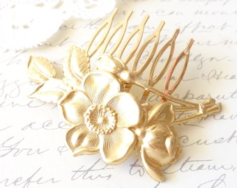 Golden Rose Blossom Hair Comb - Leaf Hair Comb - Wedding Hair Comb - Bridal Hair Accessory - Gold Flower Hair Comb - Wedding Hair Comb
