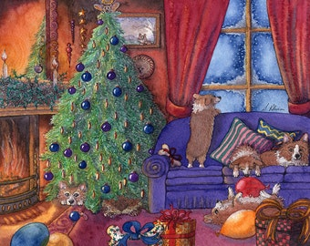 Welsh Corgi dog 8x10 art print Christmas eve pups sleeping it off eaten too much family relaxing together in sitting room Susan Alison tree