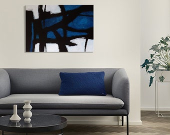 Original abstract painting Blue black modern art Abstract expressionism Blue wall art One of a kind artwork  Blue abstract art
