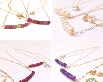 Birthstone bar necklace / bead bar necklace / gemstone bar necklace / 14K gold filled / silver / dainty gemstone necklace / gift for her