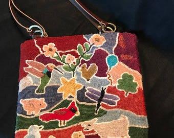 Uniquely Designed Hand Hooked Tote Bag/Purse/Laptop Bag