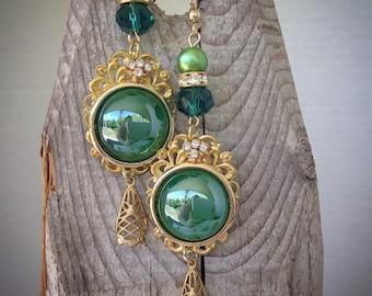 Emerald green drop earrings