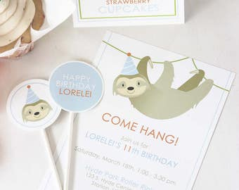 Sloth Party Invitations -  - Personalized Invites - PRINT & SHIP or DIGITAL