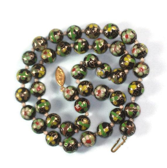 Green and Black Cloisonne Bead Necklace Porcelain Beads Vintage
