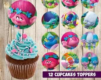 12 Trolls Cupcakes Toppers instant download, Printable Trolls party cupcakes Topper, Trolls toppers Party printable, 2 INCHES