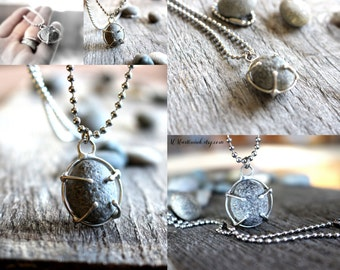 Mens Necklace Prong Set Raw Stone Necklace for Him Her, Rock Necklace, River Stone Jewelry Gift for Husband Him and Her, Boyfriend Jewelry