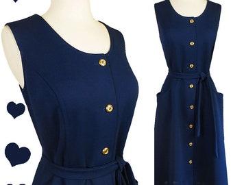 Vintage 60s Dress / 60s Mod Dress / Navy A-line Dress / Buttons POCKETS L XL Large Extra Blue 70s Sleeveless Day House Gold 1960s 1970s