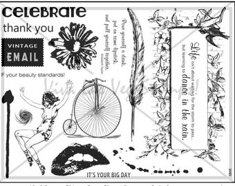 Stamping plate of  unmounted rubber stamps  plate no  1445 mona lisa banksy quote lips bicycle flowers