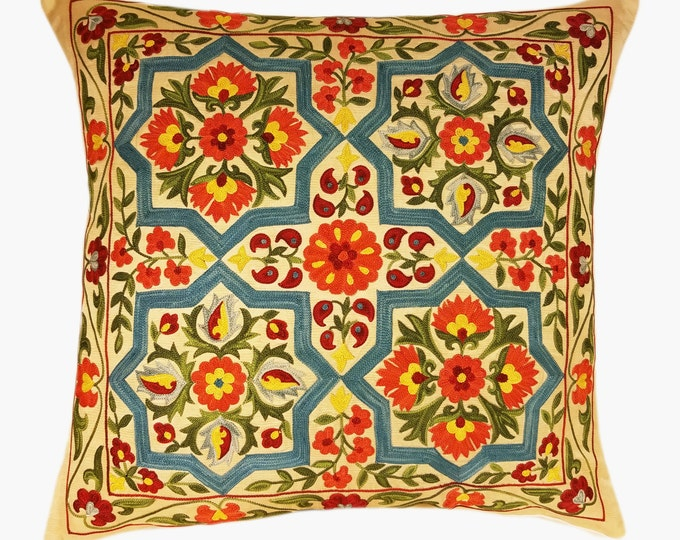 Suzani Pillow, Suzani Silk Pillow Cover SP34 (SP7-21), Uzbek Suzani, Suzani, Decorative pillows, Accent pillows, Designer Pillows