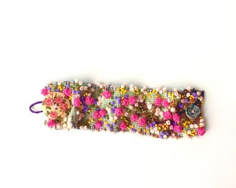 embroidered cuff - Bohemian - recycled jewelry