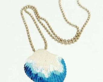 Seashell necklace, handpainted wave design, beach jewelry