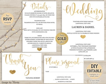 Gold calligraphy wedding invitation template, DIY editable simple wedding invite template, modern budget wedding pdf template  GO 002