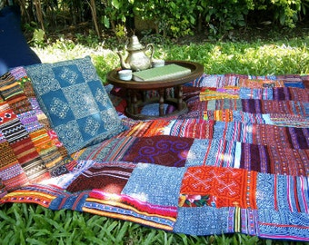 Custom Made Hmong Blanket, Picnic Blanket, Throw In Embroidery & Batik Patchwork - FREE Shipping
