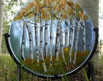 "Aspen Fused Glass Round Panel 12""/Autumn"
