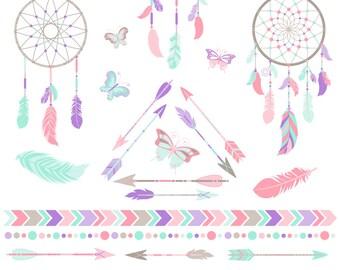 Dreamcatcher Clipart, Dream Catcher Clipart, Arrows, Tribal, Boho, Printable, Commercial Use