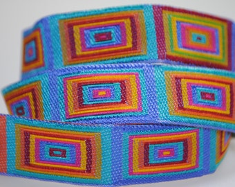 Cubic Multi Color Woven Jacquard Trim 5/8 inch wide - Two, Five, or Ten Yards