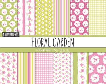 Floral Digital Paper Pack. Pink and Green Flower Patterns. Cute Floral Backgrounds. Digital Scrapbook Kit.